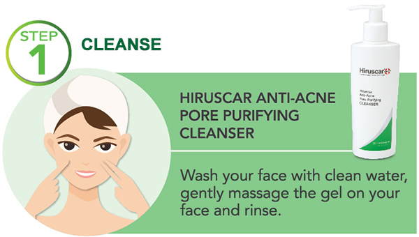 how to use hiruscar anti-acne - step 1 cleanse