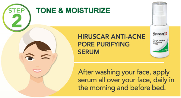 how to use hiruscar anti-acne - step 2 tone & moisturize