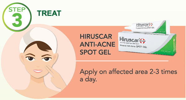 how to use hiruscar anti-acne spot gel - step 3 treat